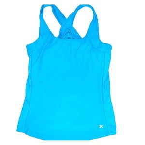 Bright blue active wear top with built in bra